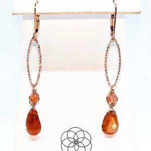 Sunstone, 14kt rose GF & SS (w rose coat) Earrings